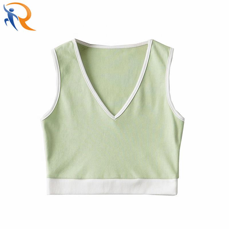 New Fashion Contrast Color Sling Vest Top Women Sports Short Plain Dyed Spring V-neck Tank Tops