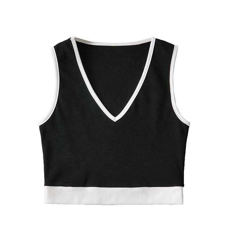 product-Ruiteng-New Fashion Contrast Color Sling Vest Top Women Sports Short Plain Dyed Spring V-nec