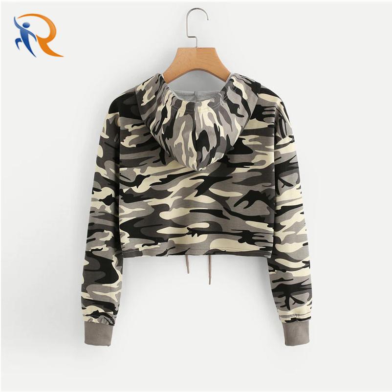 Wholesale Women′s Crop Top Camo Hoodie High Quality Cotton Military camouflage Printed Fleece Sweatshirt for Woman