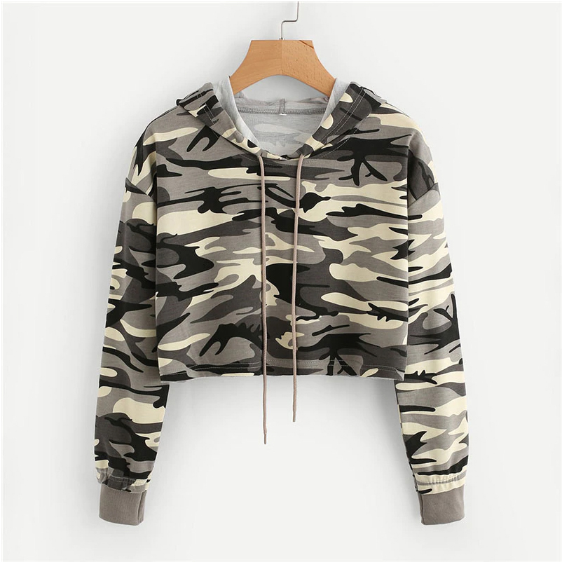 product-Wholesale Womenprime;s Crop Top Camo Hoodie High Quality Cotton Military camouflage Printed