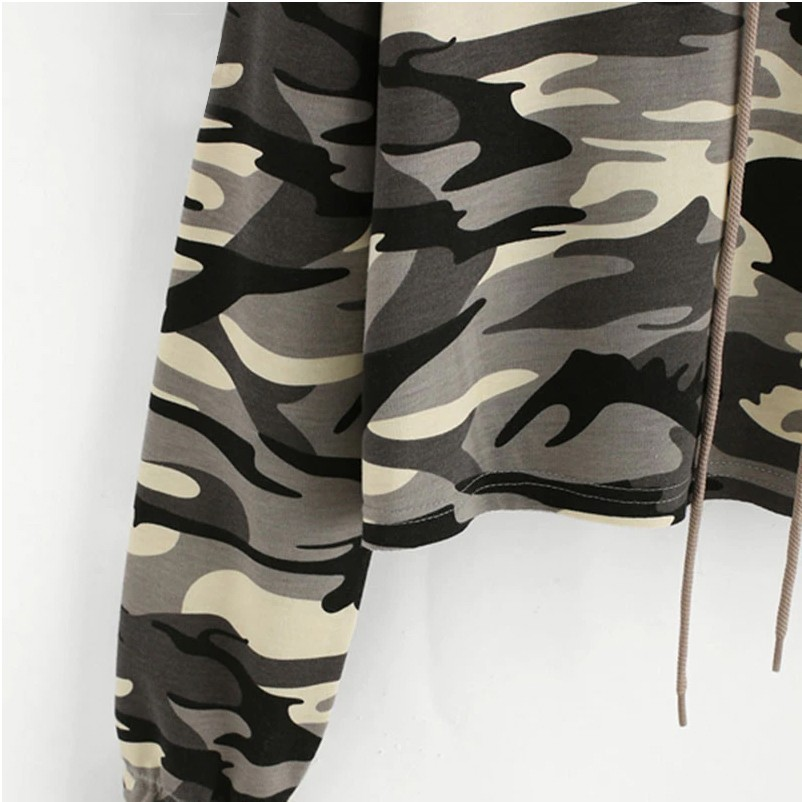 product-Ruiteng-Wholesale Womenprime;s Crop Top Camo Hoodie High Quality Cotton Military camouflage