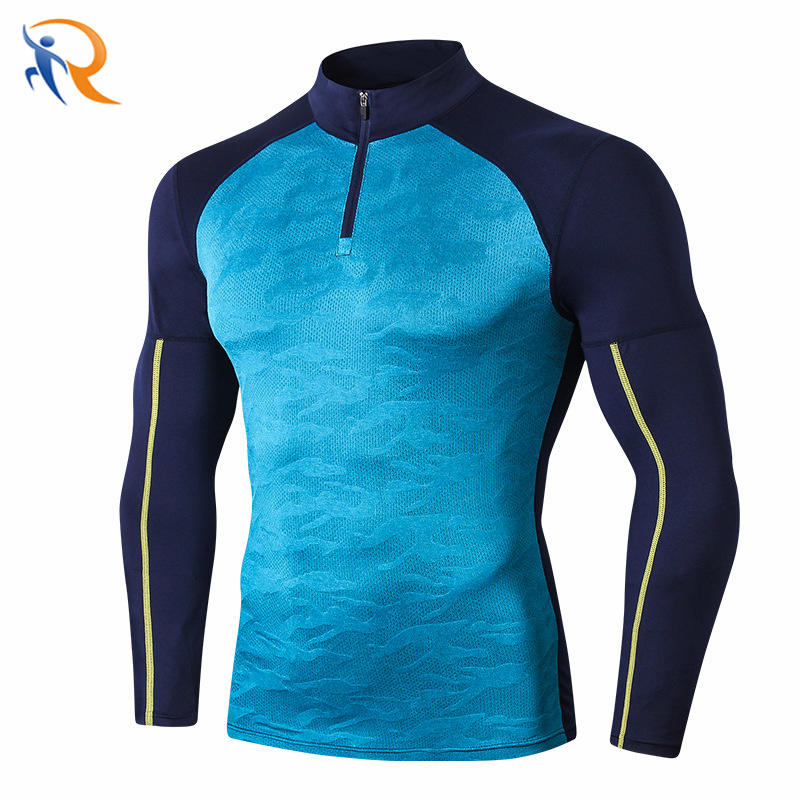 Newest Men Gym Clothing Tight Bodybuilding Muscle Fit Sports T Shirt Fitness Running Wear Half Zip Pullover
