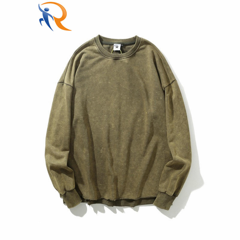 Wholesale Custom Logo High Quality Vintage Acid Wash Oversized Men's Off Shoulder Crewneck Distressed Hoodies & Sweatshirts