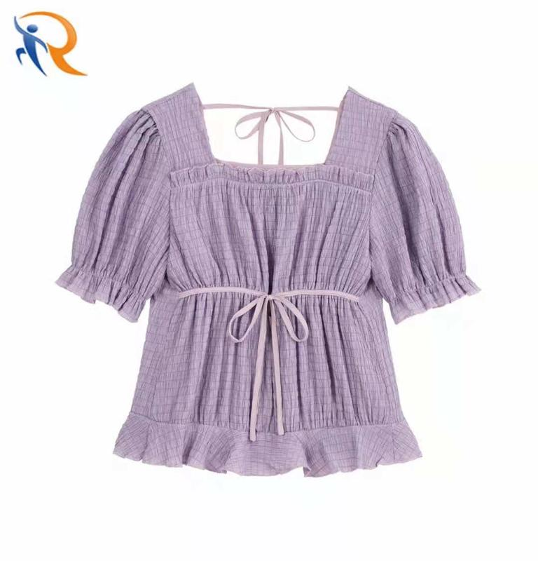 Tops For Girls Women Clothing 2021 Amazon Top Seller Chiffon Sweet Square Collar Short Sleeve Ladies' Blouses