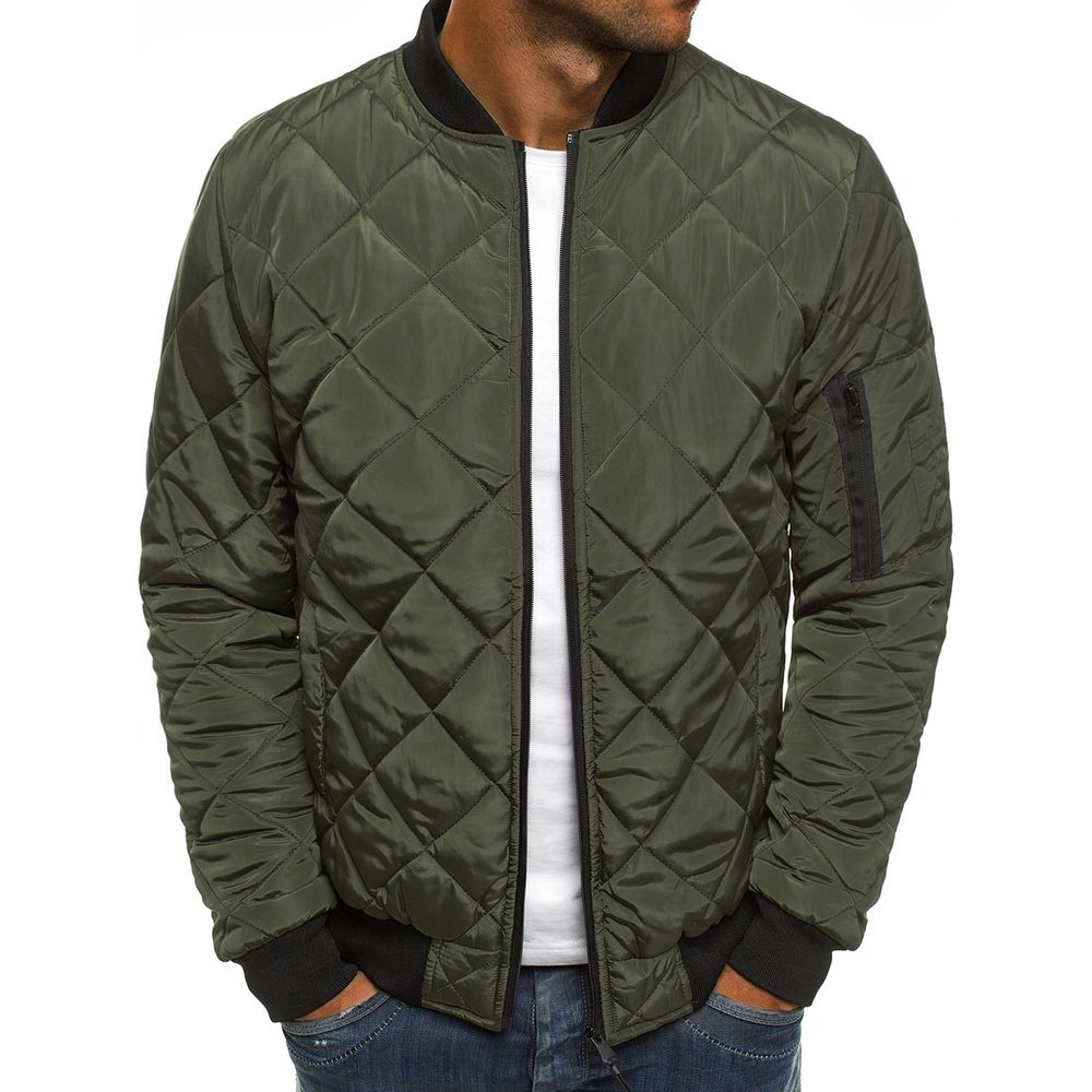 product-Autumn Winter Men Puffer Jacket Coat Mens Plaid Cotton Padded Clothes-Ruiteng-img