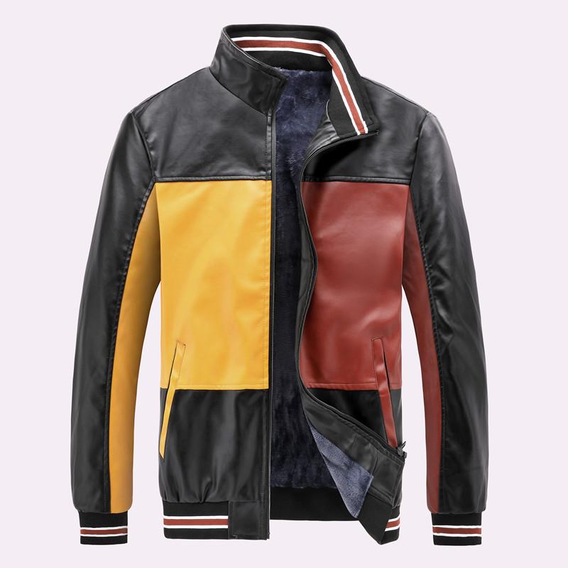 product-Amazon Quality Winter PU jackets With Velvet Mens Baseball Jacket New Design Motorcycle Jack