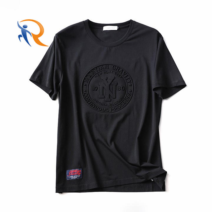 2021 Custom Fashion Embossed Tee 100% Cotton Pullover Premium Men Custom Embossed T Shirt