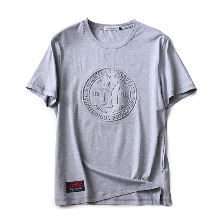 product-Ruiteng-2021 Custom Fashion Embossed Tee 100 Cotton Pullover Premium Men Custom Embossed T S