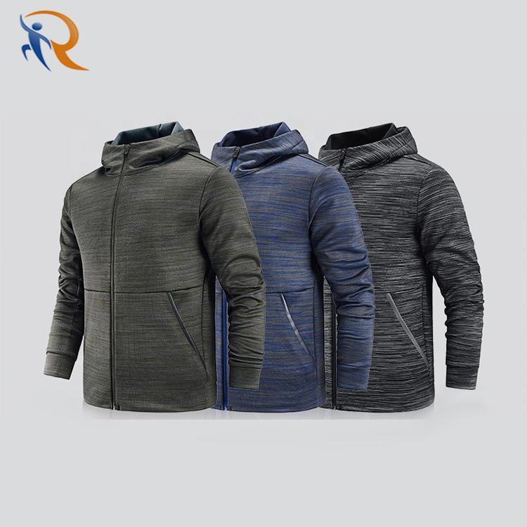 New casual Outdoor sportWear Mens fleece Hooded Jacket Custom Windbreaker Clothing Black NAVY Plain running coat with zipper