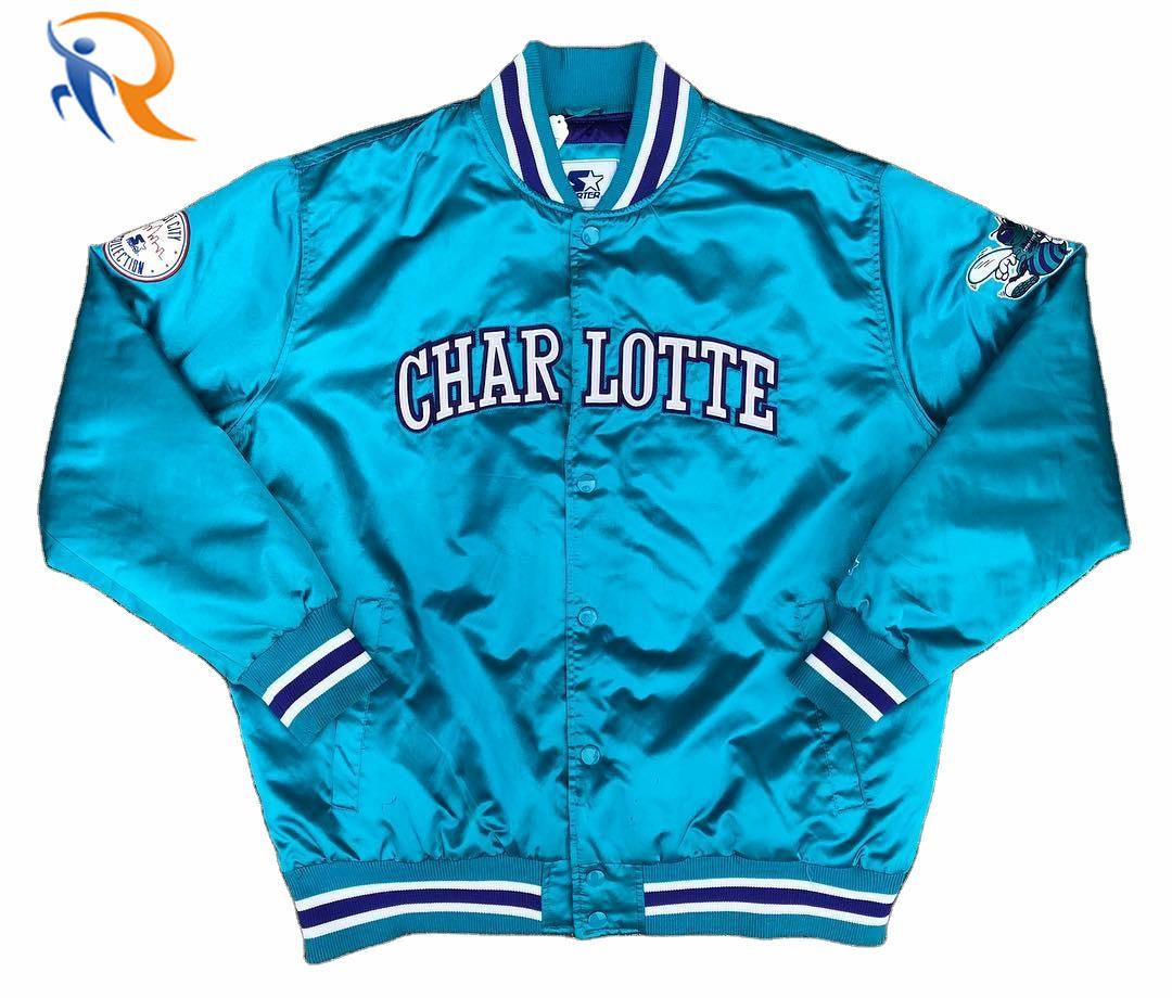 Custom Team Sports Jacket White/Blue Warriors Starter Men's Varsity Satin Jackets
