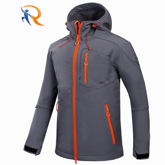 Custom Men Sports Softshell Jackets Grey Outdoor Camping Coats Thermal Waterproof Soft Shell Jacket With Hood