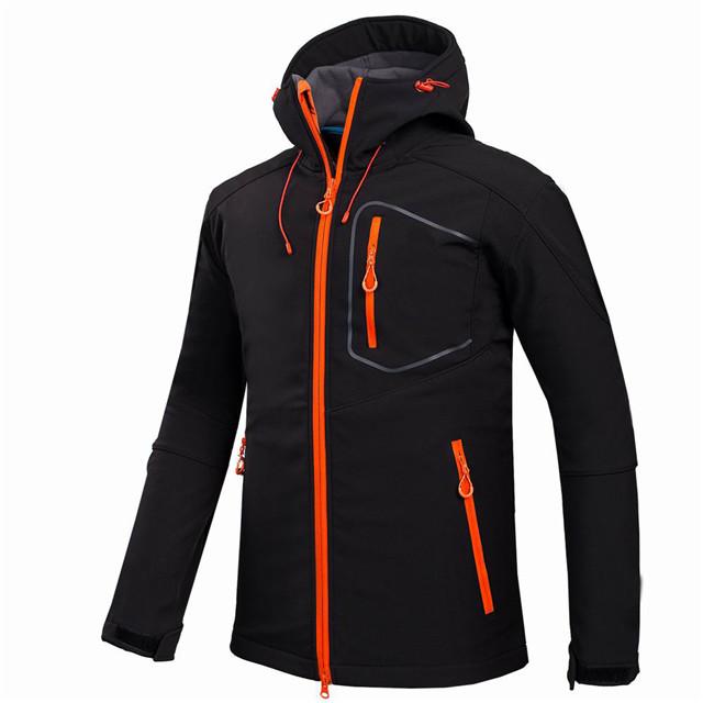 product-Custom Men Sports Softshell Jackets Grey Outdoor Camping Coats Thermal Waterproof Soft Shell