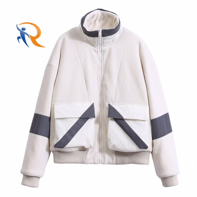 Manufacturer Padded Reflective Contrast Fabric Corduroy White Coat Women Outdoor Jacket Reflective