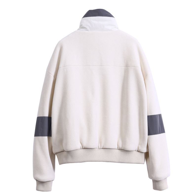 product-Manufacturer Padded Reflective Contrast Fabric Corduroy White Coat Women Outdoor Jacket Refl