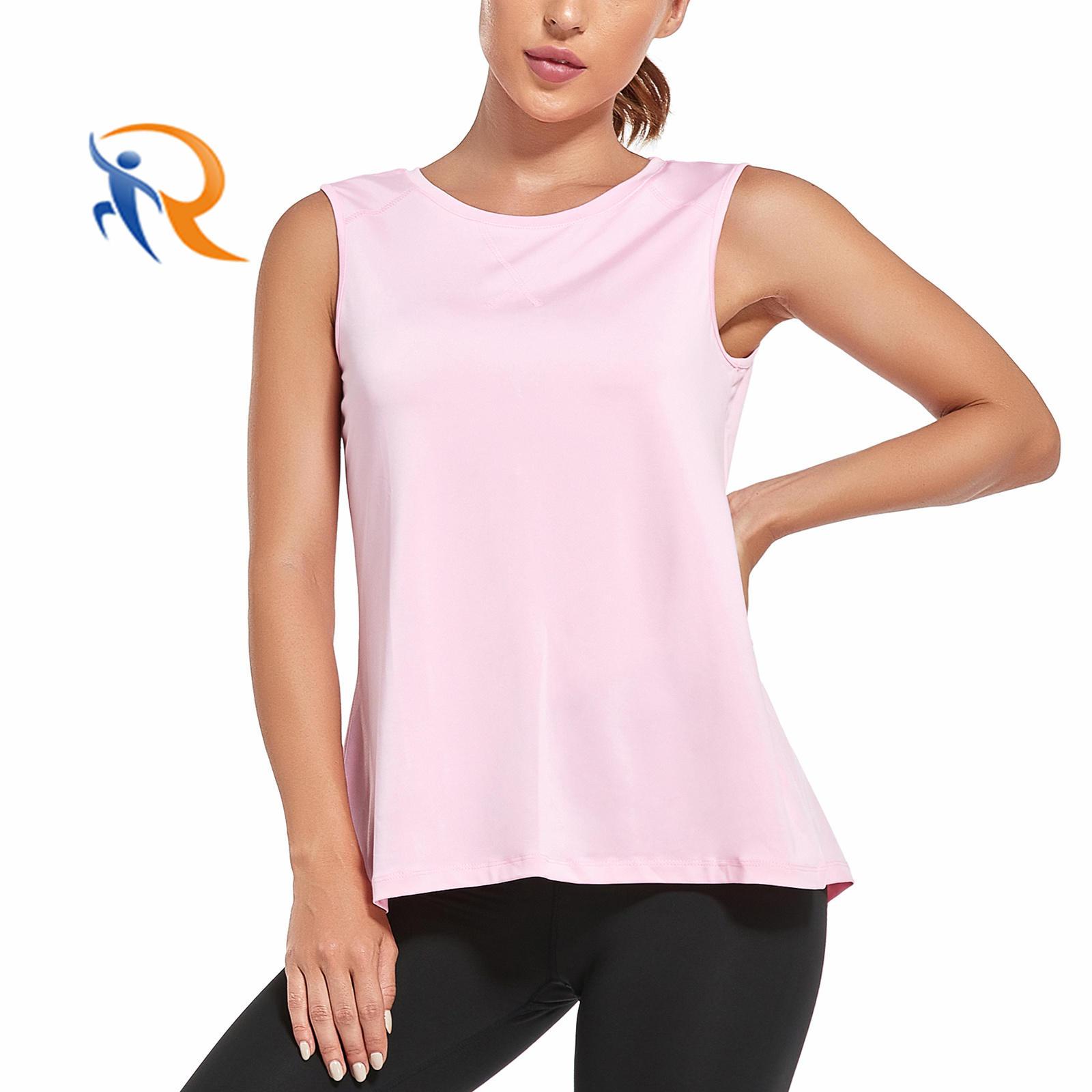 Elastic Fabric Sports Tops Running T Shirt Woman Athletic Vest