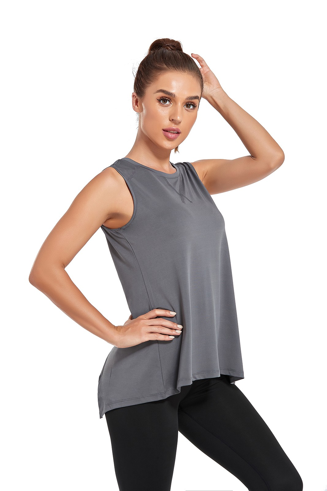product-Elastic Fabric Sports Tops Running T Shirt Woman Athletic Vest-Ruiteng-img
