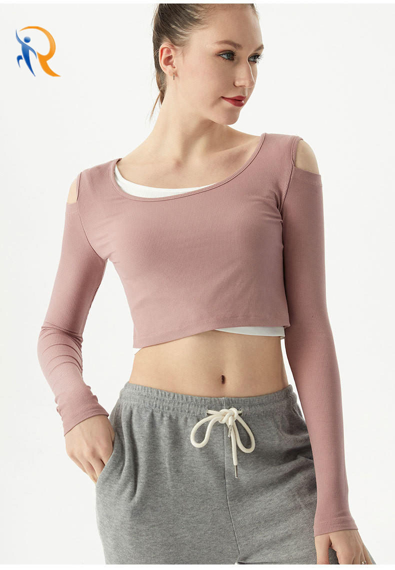 Factory Price Hollow Sports Long-Sleeved Shirt Sexy Loose Fitness Yoga Clothes Pure Colors Tank Wholesale-Ruiteng