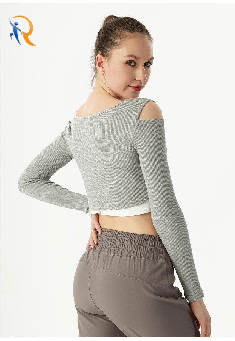 product-Ruiteng-Factory Price Hollow Sports Long-Sleeved Shirt Sexy Loose Fitness Yoga Clothes Pure