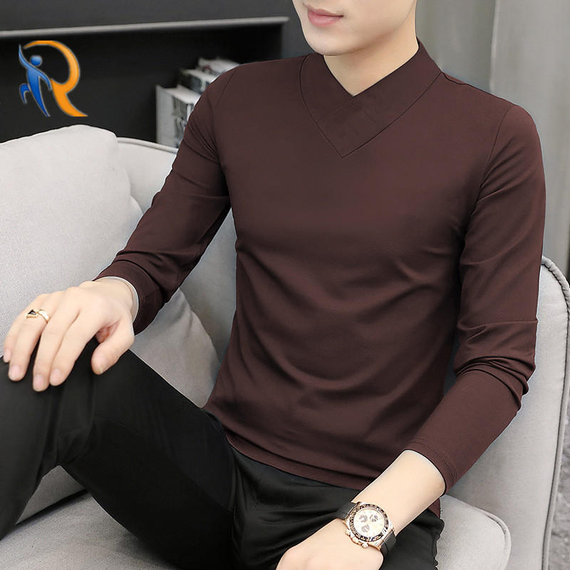 Mens V-Neck Modal-Cotton Long-Sleeved Comfy Soft Handfeel Shirt Jkt-190