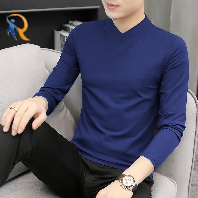 product-Mens V-Neck Modal-Cotton Long-Sleeved Comfy Soft Handfeel Shirt Jkt-190-Ruiteng-img