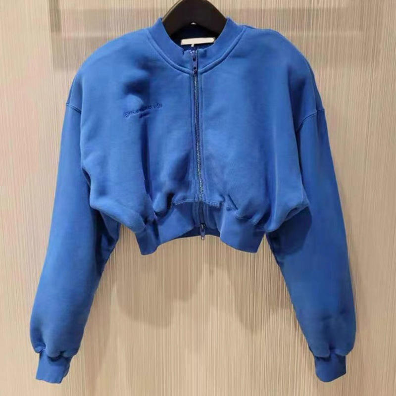 Zipper Cardigan Sports Sweater Solid Color All-Match Casual Jacket