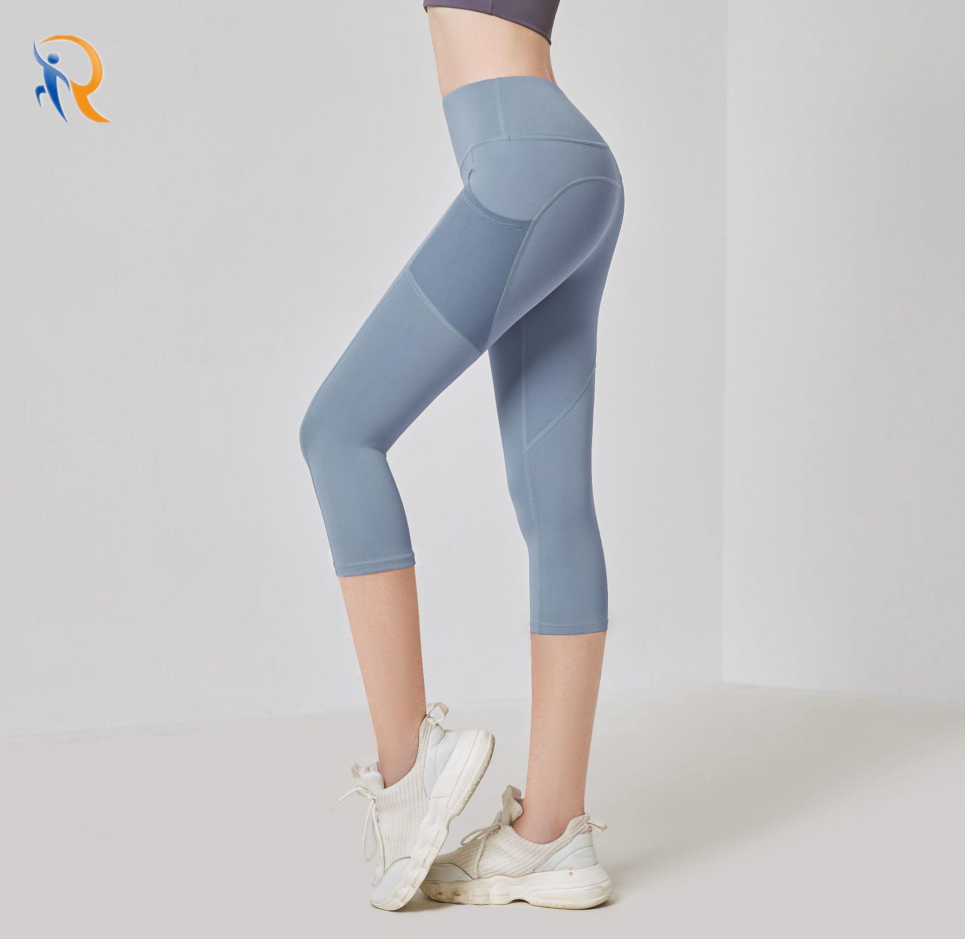 Side Pockets Cropped Yoga Pants Women High Waist Gym Fitness Pants Sports Tights Capri Legging