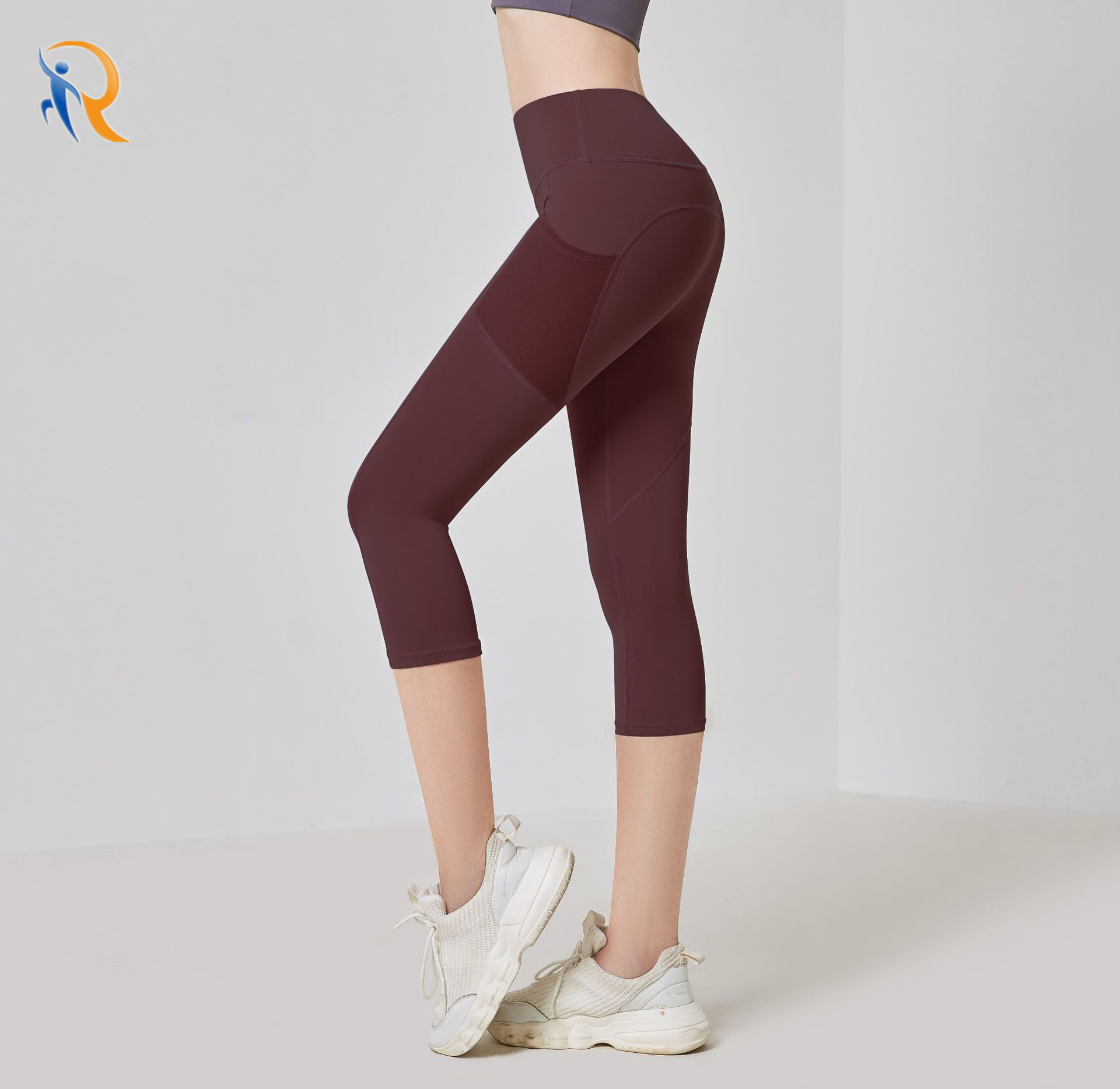 product-Ruiteng-Side Pockets Cropped Yoga Pants Women High Waist Gym Fitness Pants Sports Tights Cap
