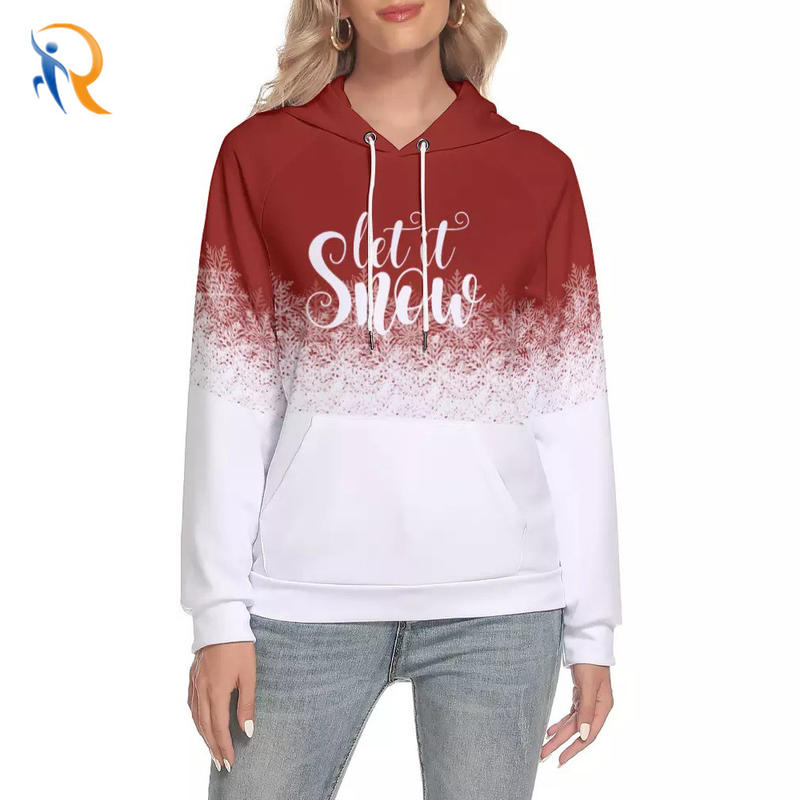 Womens Snowy Flory Printing Pullover Casual Style Hoodies