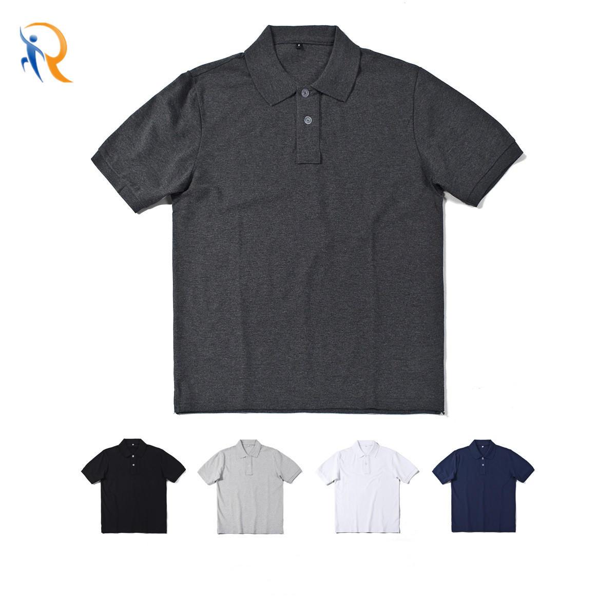 Organic Cotton Basic Polo Shirt Retro Solid Color Short-Sleeved Lapel Polo Shirt Men′s Half-Sleeved Plain T-Shirt