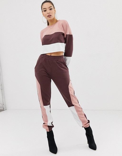 Ruiteng-Fashion Hoodies, Co-ord Contrast Panel Cropped Sweat Rtc2