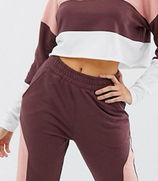 Ruiteng-Fashion Hoodies, Co-ord Contrast Panel Cropped Sweat Rtc2-4