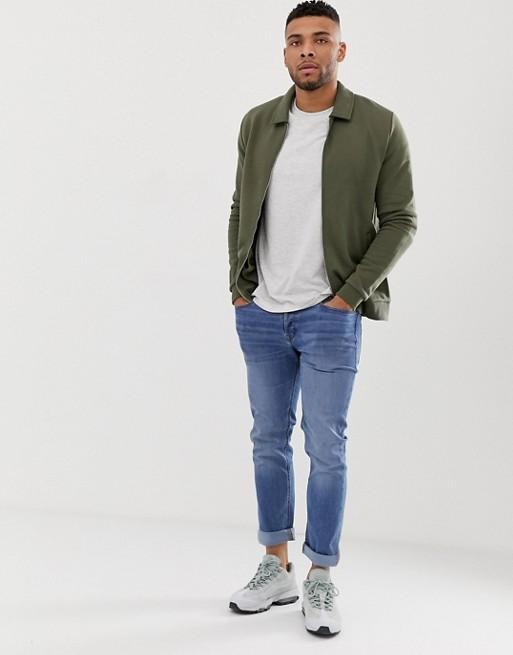 Ruiteng-Fashion Hoodies Manufacture | Man Jersey Fitted Harrington Jacket -rtc3-2