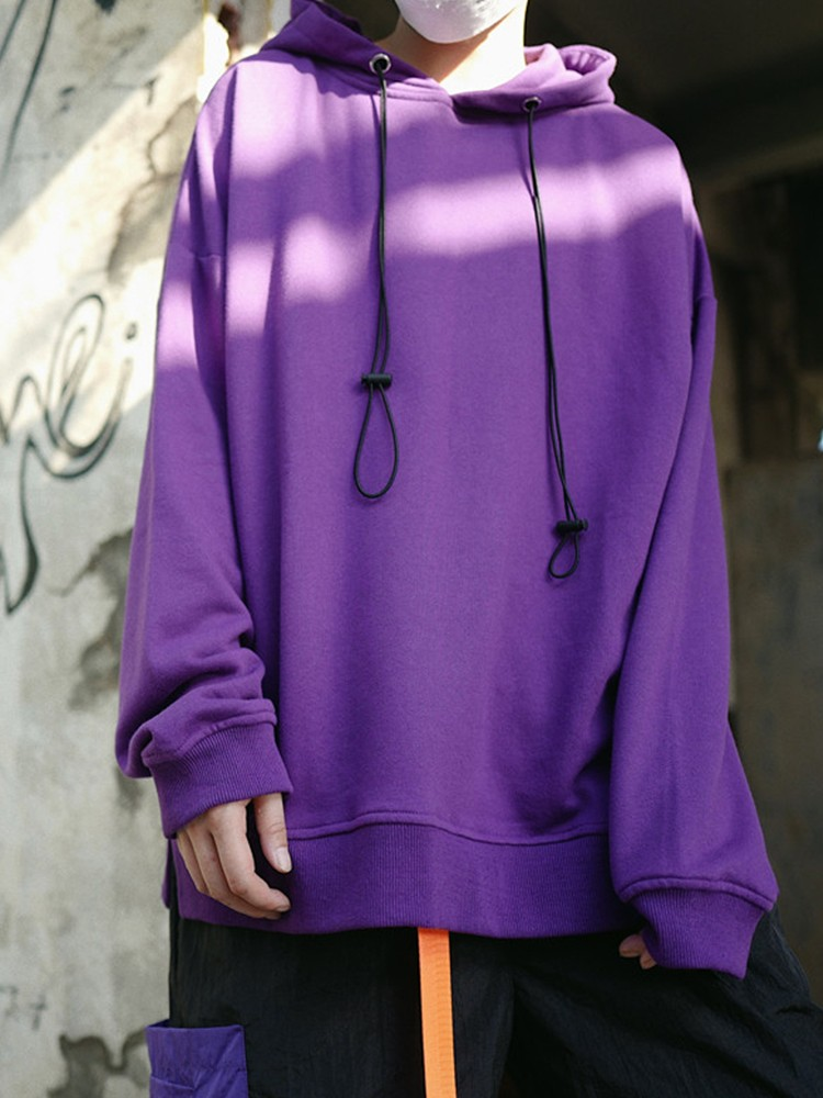 product-Ruiteng-Hoodies solid color loose-fitting and fleece hoodie male and female couple-img
