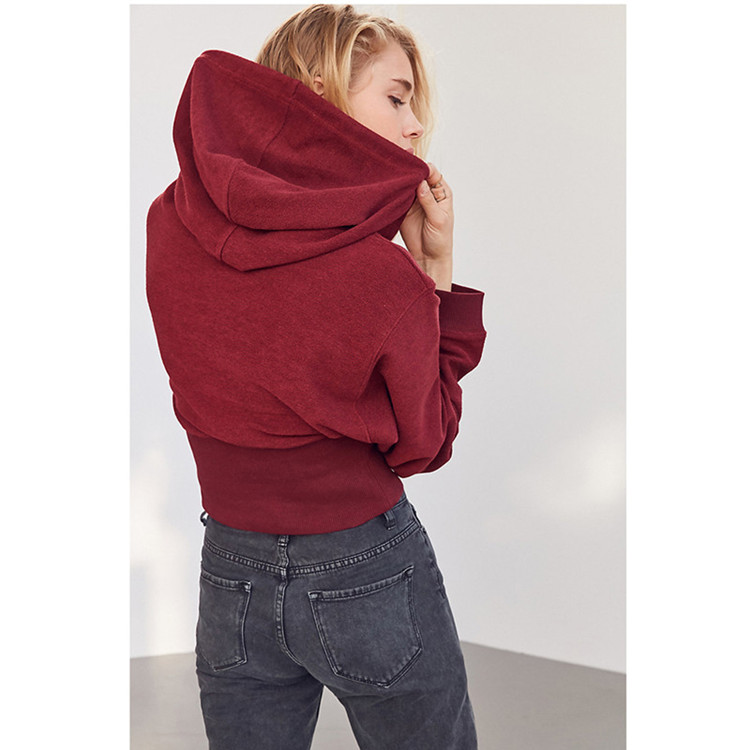 product-Ruiteng-new hooded hoodie loose solid color sports thin high-waisted short long-sleeved hood