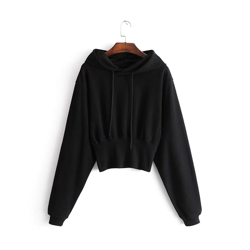 product-new hooded hoodie loose solid color sports thin high-waisted short long-sleeved hoodie coat