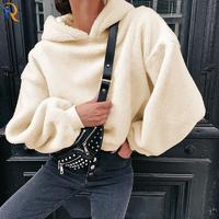 Solid color versatile wool hooded hoodie loose thin warm casual plush blouse female