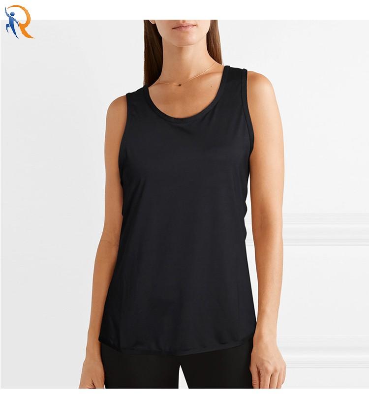 product-Back split back running yoga fitness loose blouse vest female black gray-Ruiteng-img