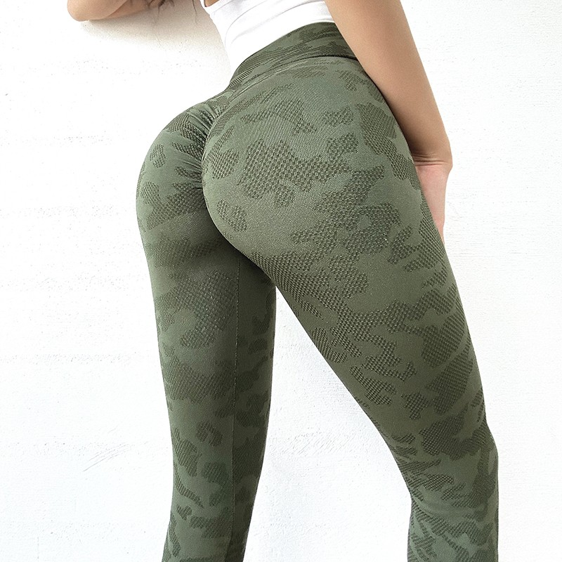 product-Ruiteng-Camouflage peach fitness pants for womens high waist, belly in, and hip lift yoga pa