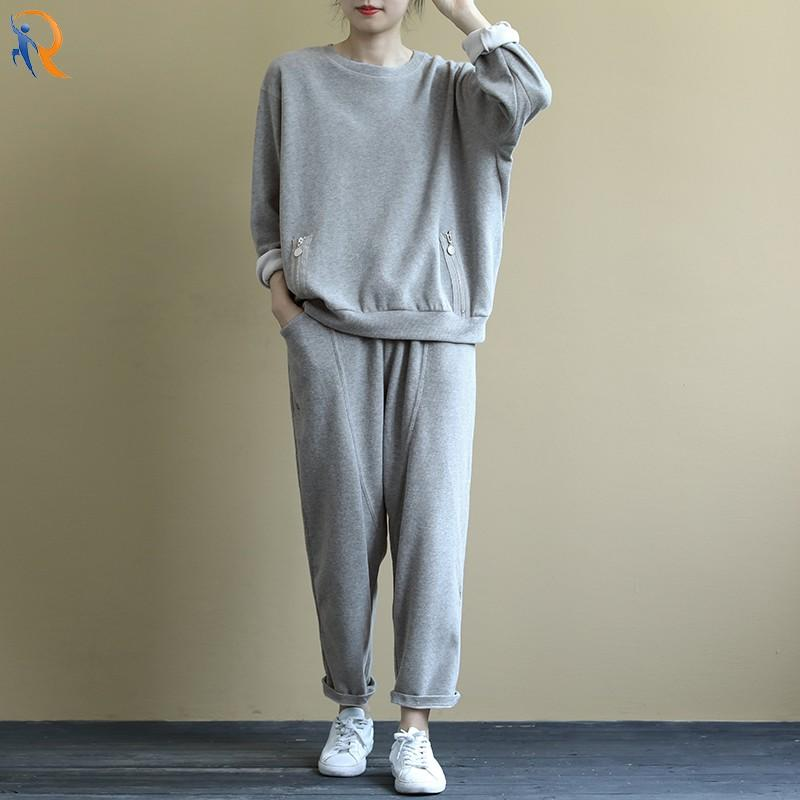 Loose and artistic long-sleeved hoody suit solid color drawstring elastic pants 9-cent trousers casual two-piece autumn suit