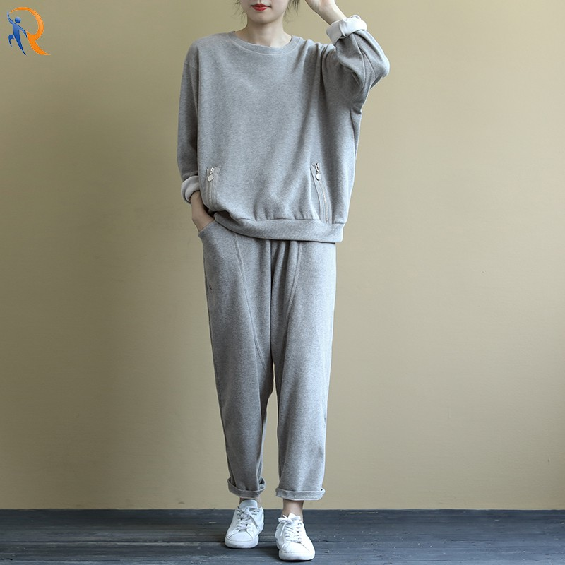 product-Loose and artistic long-sleeved hoody suit solid color drawstring elastic pants 9-cent trous