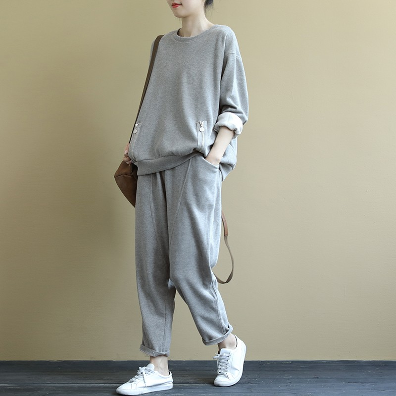 product-Ruiteng-Loose and artistic long-sleeved hoody suit solid color drawstring elastic pants 9-ce