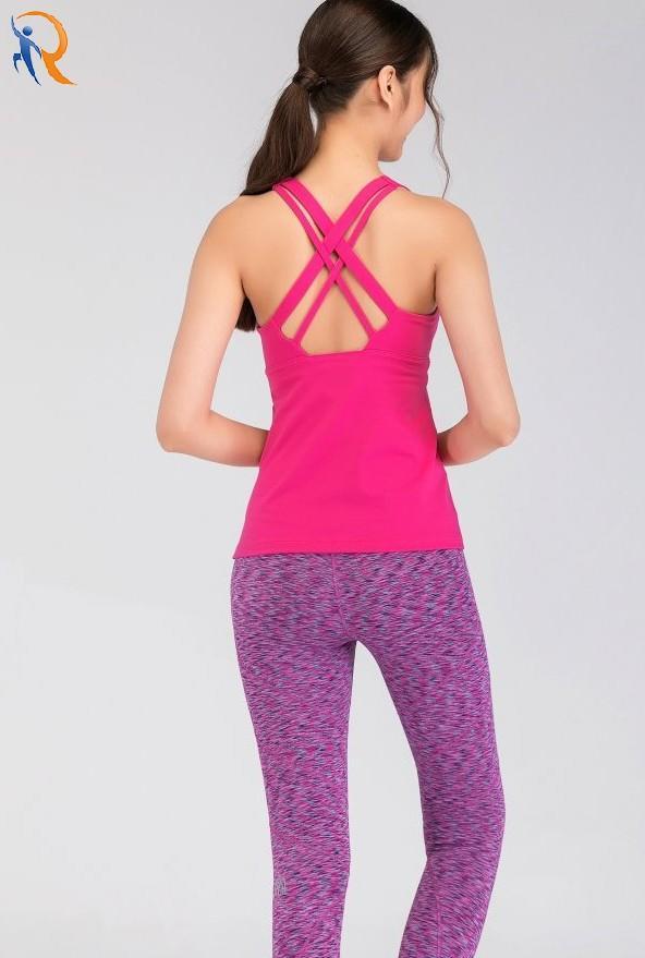 sports women running vibration vest fitness gathered yoga naked feeling vest