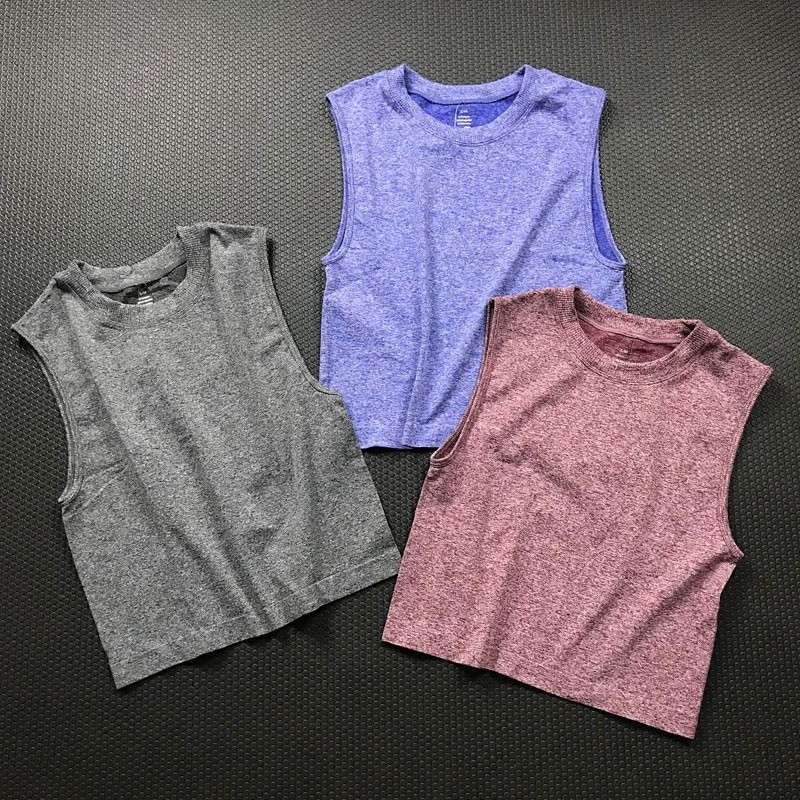 product-Womens sense yoga sleeveless running T-shirt quick dry clothes crop top training blazer summ