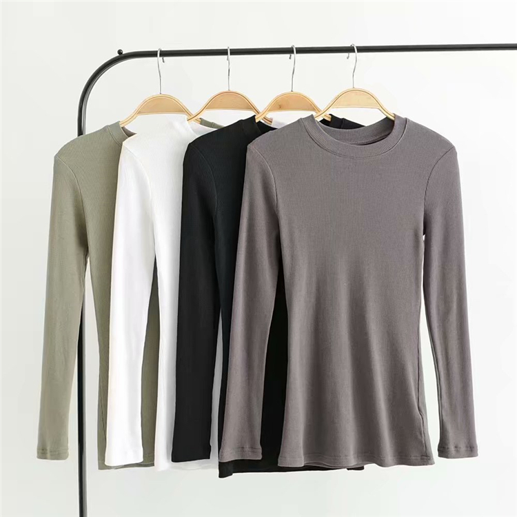 product-blouse round collar long sleeve solid color thread undergarment-Ruiteng-img
