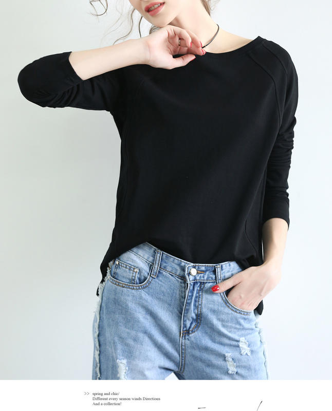 Cotton simple solid color loose-fitting large size thin long-sleeved T-shirt blouse round neck hoodie