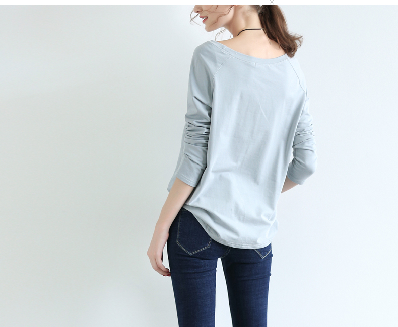 product-Cotton simple solid color loose-fitting large size thin long-sleeved T-shirt blouse round ne