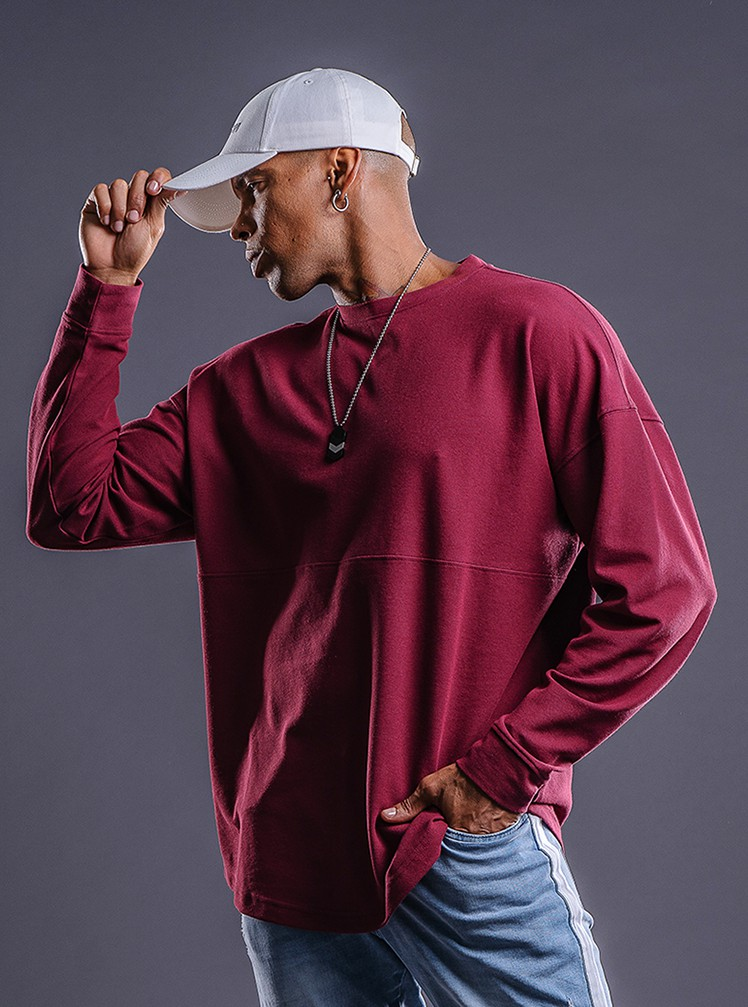 product-Ruiteng-Long sleeve sports T-shirt round collar loose fashion fitness top top top-img