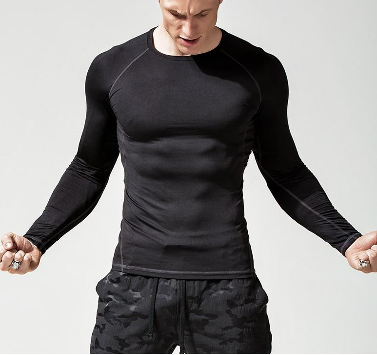 Long-sleeved T-shirt round collar black stretch tight solid color slim white autumn coat