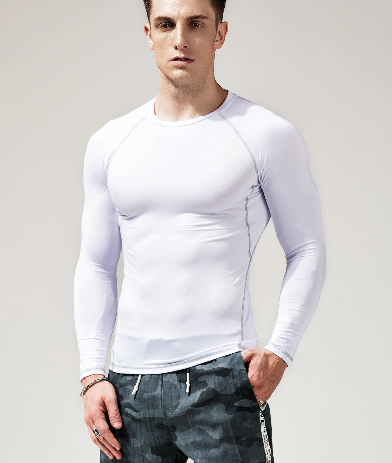 product-Ruiteng-Long-sleeved T-shirt round collar black stretch tight solid color slim white autumn
