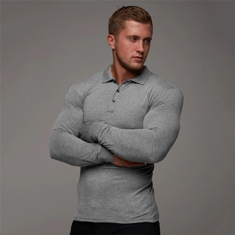 product-POLO shirt mens new sports long-sleeved lapel quick-drying mens fitness tights running train